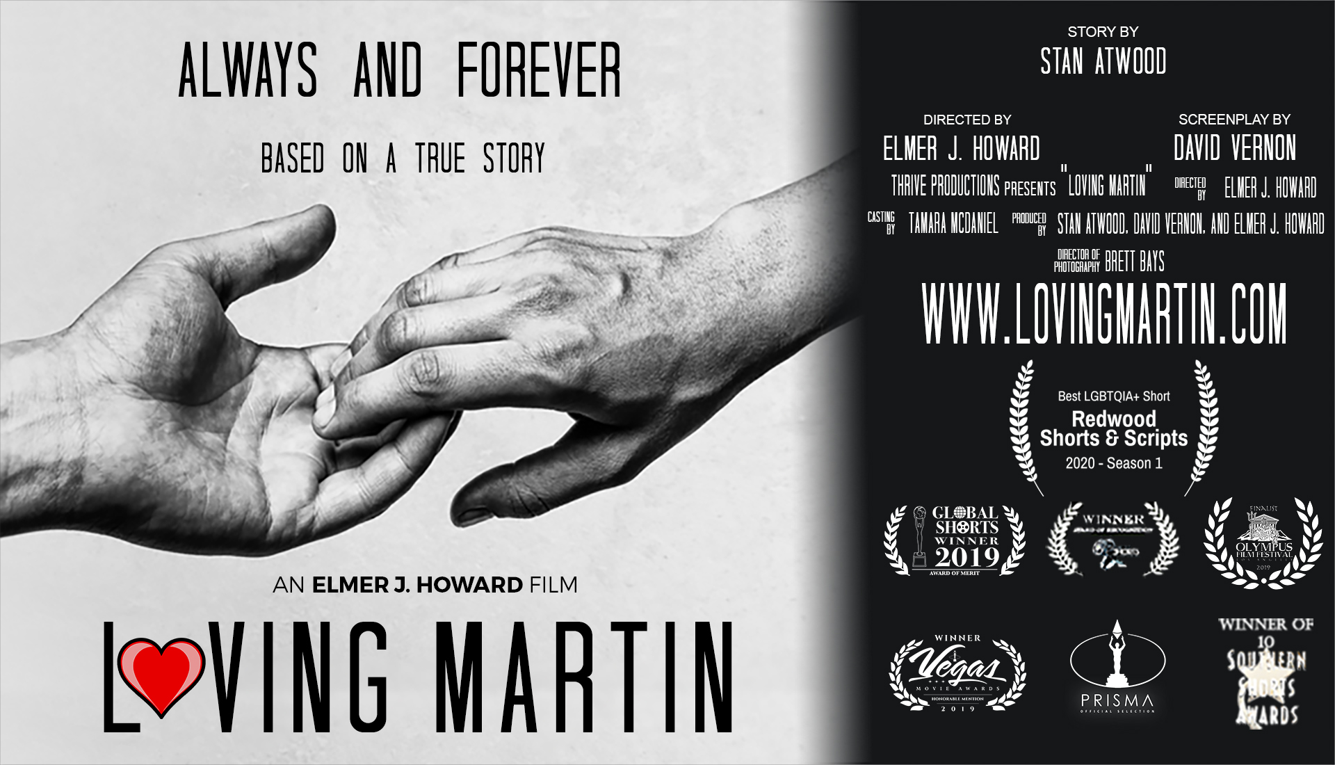 Loving Martin Movie poster showing two hands reaching for each other