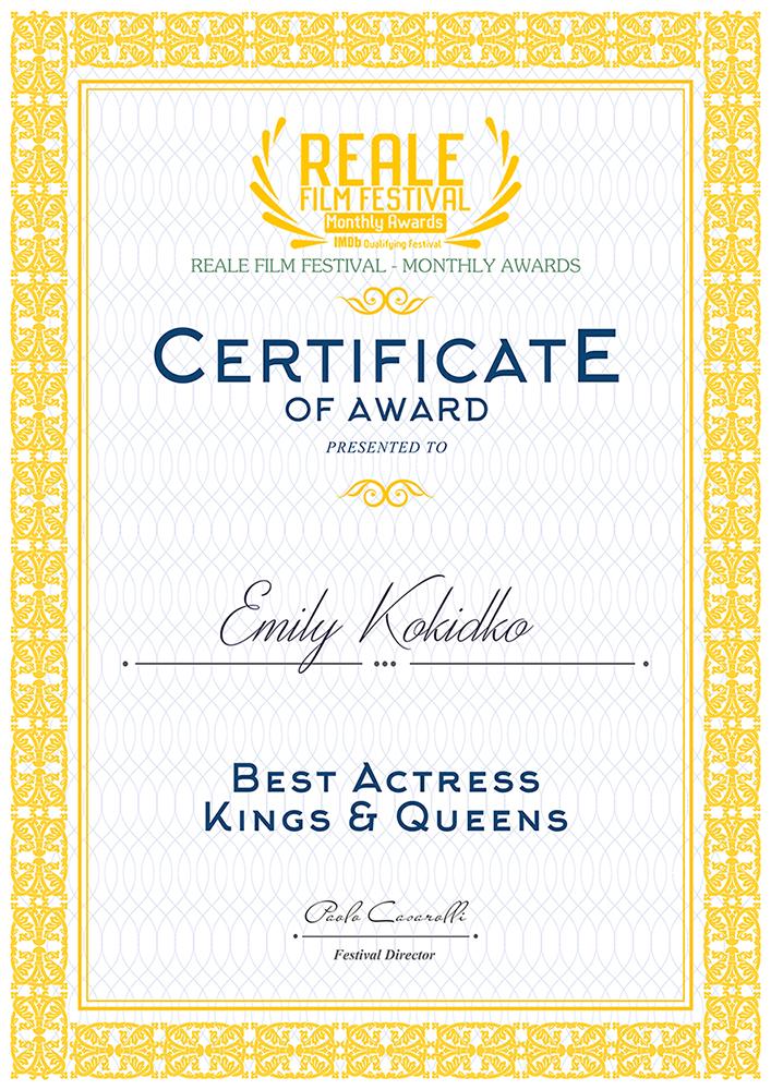 Reale Film Festival – Best Actress – Emily Kokidko