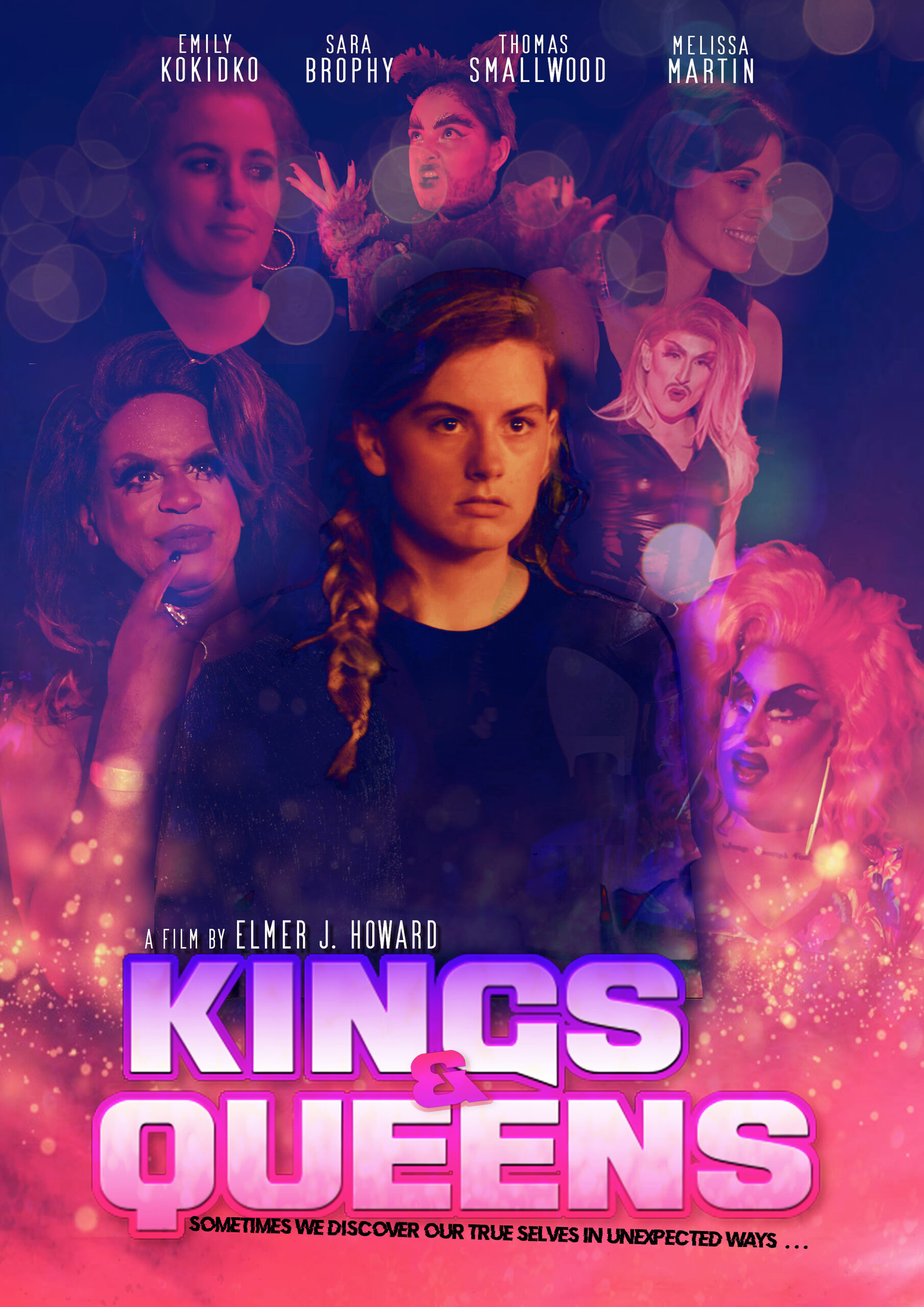 Kings & Queens Poster Woman facing camera with faces of others surrounding her